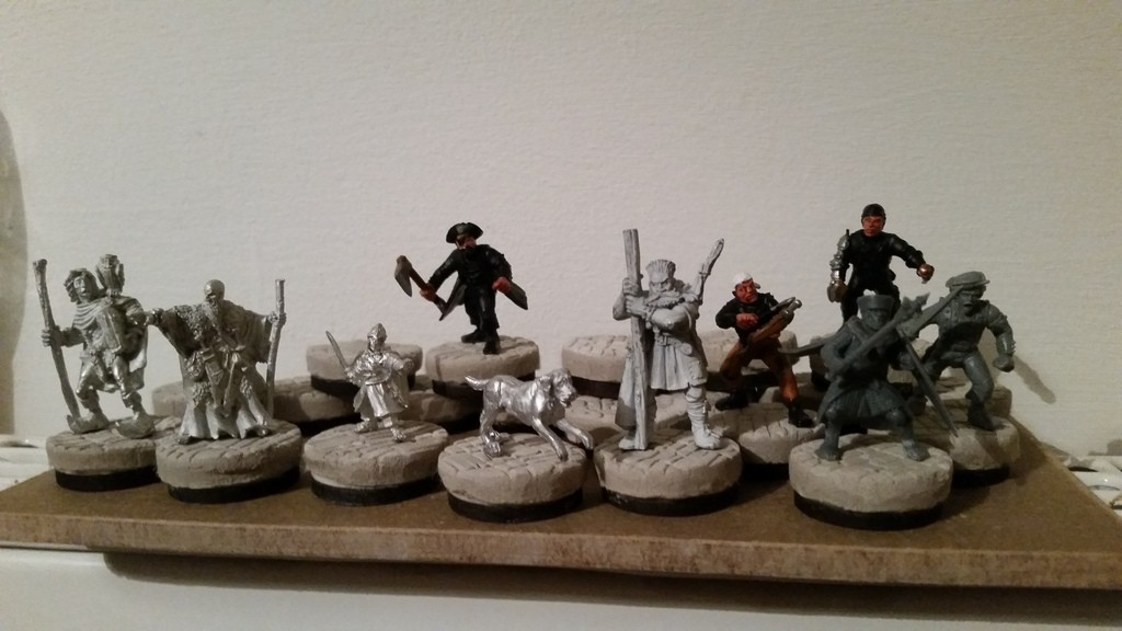 Frostgrave warband mounted on cobblestone bases