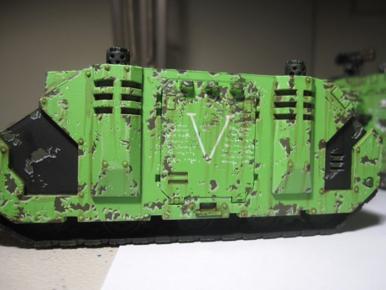 Battle damage example painted on a Rhino
