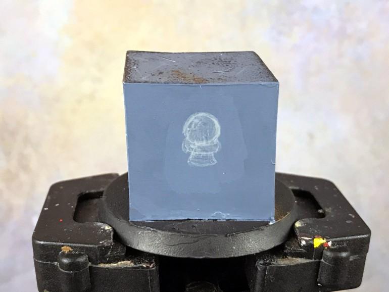 Start filling in the freehand skull shape